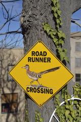 USA, Arizona, Jerome, Road Runner Crossing sign