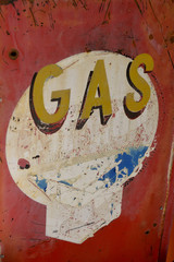 USA, Arizona, Jerome, brightly painted antique gas sign, Gold King Mine