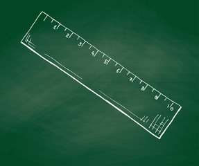 Hand drawn a ruler on a green school board. Vector illustration of a sketch style
