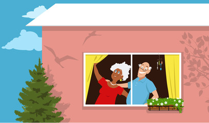Retired couple standing at the window in their new condo, EPS 8 vector illustration