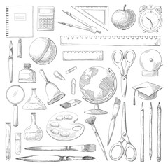 Hand drawn different school supplies isolated on white background. Vector illustration of a sketch style.