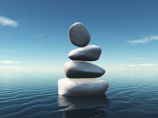 3D landscape with stepping stones balancing in an ocean