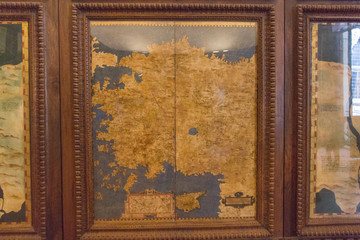 Cartography map in the Hall of geographical maps in Palazzo Vecchio, Florence, Tuscany, Italy.