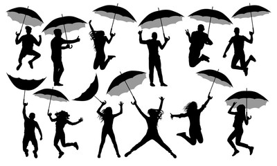 People with umbrellas silhouette, vector set. Crowd with parasols isolated on white background