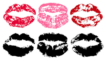 Imprint of lipstick. Lips trace isolated on white background, vector silhouette. Kiss set