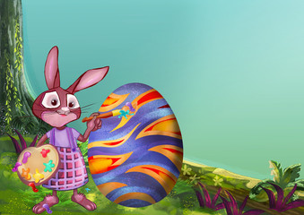 Easter bunny. Painting illustration.