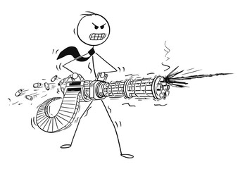 Cartoon stick man drawing conceptual illustration of angry businessman shooting from rotary machine gun cannon. Business concept of stress and anger.