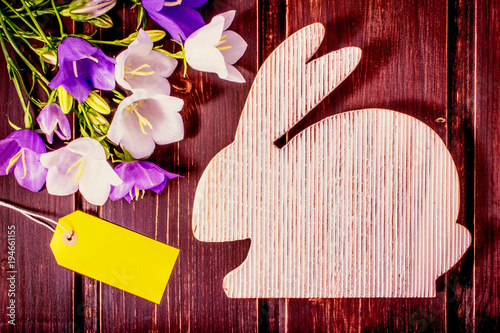Happy easter mockup wooden rabbit with spring flowers and sale happy easter mockup wooden rabbit with spring flowers and sale label or tag with copy mightylinksfo