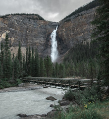 Takakkaw Falls is a huge beautiful waterfall in Yoho National Park