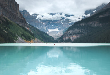 Lake Louise is full of red canoes in the summer