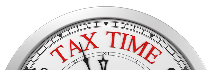 Tax time deadline on a clock - 3d render