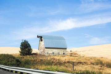 Old Farm Building in Desert Farmland