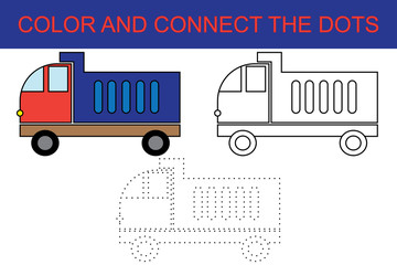 Cartoon dump truck. Dot to dot educational paper game for preschool children. Coloring page.