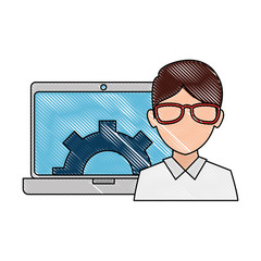 man with laptop and gears vector illustration design