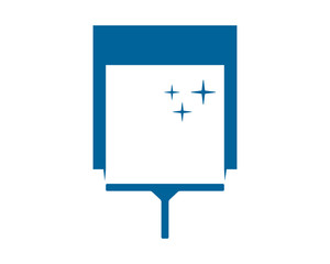 blue rectangle wiper cleaners image vector icon