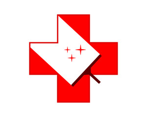 red cross medical medicare pharmacy clinic cleaners wiper image vector icon
