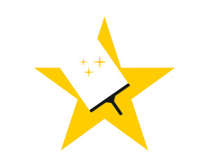 yellow wiper star cleaner wiper image vector icon