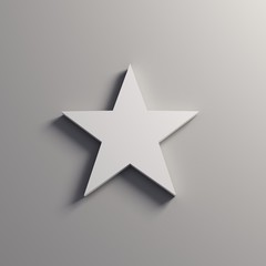 White Star Icon. 3D Render Illustration