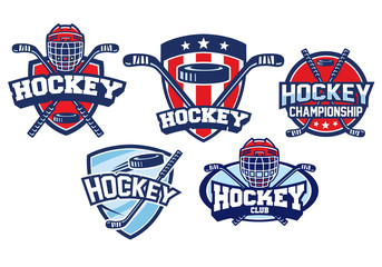 hockey badge design set