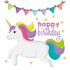 happy birthday card with unicorn character vector illustration design