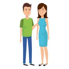 couple lovers avatars characters vector illustration design
