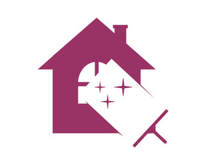 cleaner wiper the sparkle purple house home window image vector icon