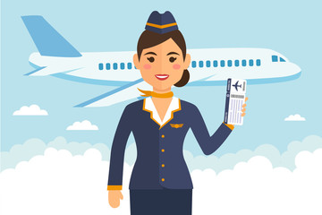 Stewardess woman in uniform