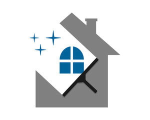 cleaning wiper the sparkle house home window image vector icon