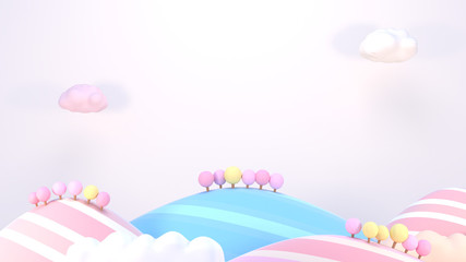 3d rendering picture of sweet cartoon mountains.