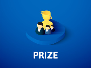 Prize isometric icon, isolated on color background