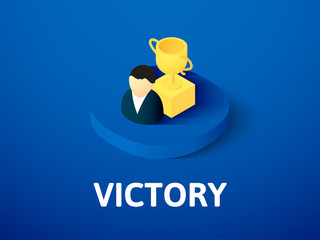 Victory isometric icon, isolated on color background