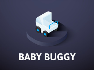 Baby buggy isometric icon, isolated on color background