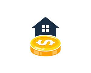 House Coin Icon Logo Design Element