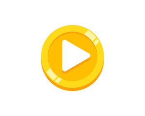 Video Coin Icon Logo Design Element