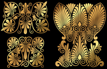 A set of golden Greek floral swirly design elements and icons.