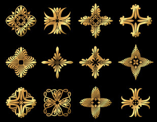 A set of golden floral leafy design icons and ornaments.
