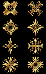 A set of golden Greek floral design icons and ornaments.