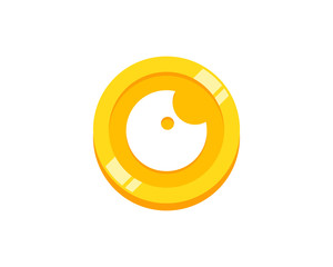 Eye Coin Icon Logo Design Element