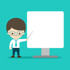 a young man is pointing something in monitor. copy space design. vector illustration.