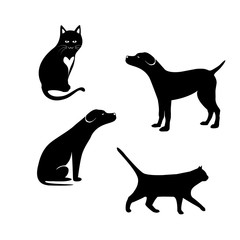 design dog and cat silhouette