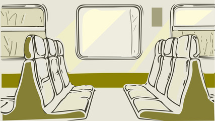 Train, commuter shuttle inside interior with seats, windows, shadows, Concept of transport, commuter trains, travel. Vector, copy space, sketch style.