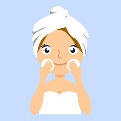 Pretty girl with towel on her head wash off makeup,