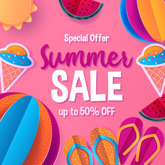 Summer sale banner template for social media and mobile apps with paper art travel and vacation background