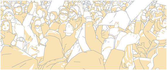 Illustration of crowd protest, demonstration in color