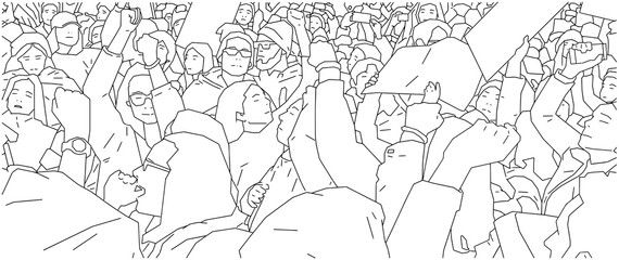 Illustration of crowd protest, demonstration in line art