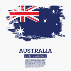 Australia Flag with Brush Strokes. Vector Illustration.