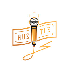 golden microphone with hustle banknote illustration