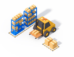 warehouse operations storage isometric low poly 3d render isolated on white
