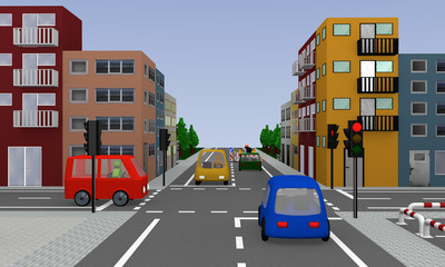 Crossing with red glowing traffic light, colorful cars, houses and construction site.