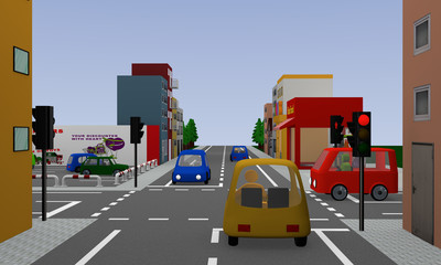 Crossroads with red glowing traffic lights, colorful cars and houses. 3d rendering